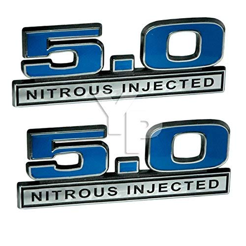 5.0 Liter Engine Nitrous Injected NOS Emblems in Blue & Chrome - 5