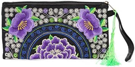 Dairyshop Las mujeres hechas a mano bolso de flores étnicas de bordado largo bolso de la cartera de teléfono caso (#7)