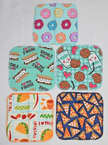 1 Ply Printed Flannel 8x8 Inches Little Wipes Set of 5 Snack Attack