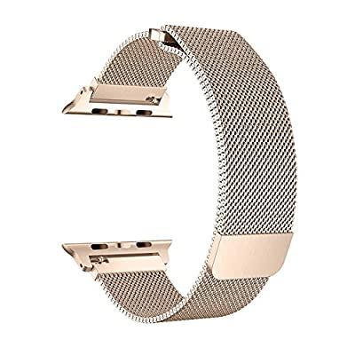 BRG for Apple Watch Band 38mm 42mm, Mesh Milanese Loop Replacement Metal iWatch Band for Apple Watch Series 3 2 1 (Gold, 38mm)