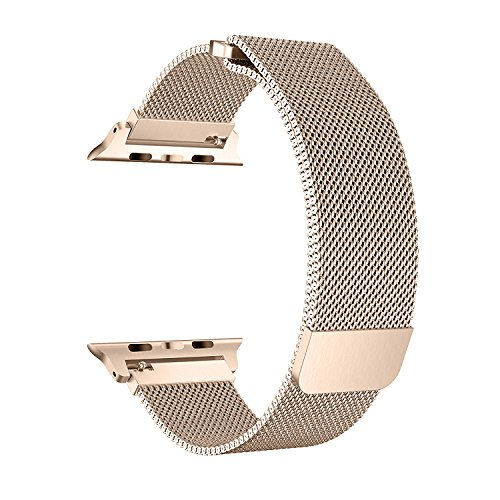 BRG for Apple Watch Band 38mm, Stainless Steel Mesh Milanese Loop with Adjustable Magnetic Closure Replacement iWatch Band for Apple Watch Series 3 2 1 (38mm Gold) by BRG