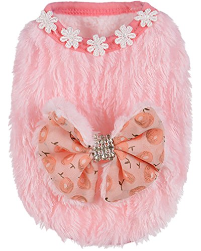 Sunward Fleece Dog Winter Coat For Small Boy Dog Cat Puppy Cotton Jacket For Pet Puppy Small Dog (Pink, XXXS) For Sale