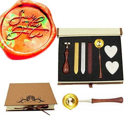 MNYR Save The Date Monogram Wax Seal Stamp Kit Wooden Handle Melting Spoon Candle Gift Box Set- Ideal for Decorating Gift Packing, Envelopes, Parcels, Cards, Letetrs, Wedding Invitations Seal Stamp