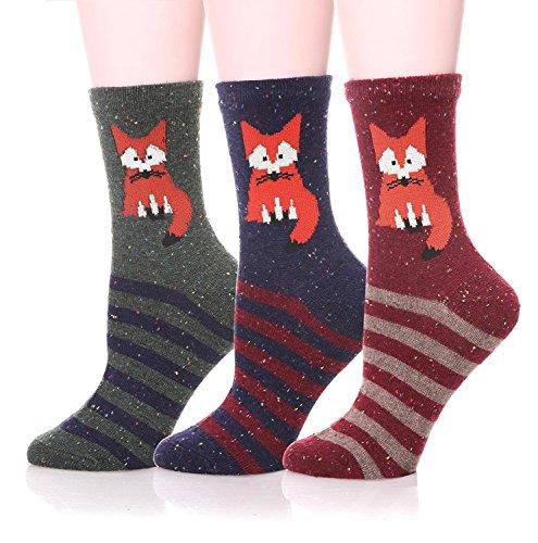 - LANSHULAN Women's Casual Cartoon Cute Socks 3 pairs (Red Fox)