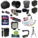 """Advanced Accessory Package for the Canon Vixia HF G10, HF G20, HF G30, HF S20, HF S21, HF S30, HF S200 Includes 64GB High Speed Error Free SDHC Memory Card + Professional 5 Piece Filter Kit (UV, CPL, FL, ND4 and 10x Macro Lens) + 0.20 x High Definition II Wide Angle Panoramic Lens + 3.7x Extreme High Definition AF Telephoto Lens + Additional BP-819 Extended Life Replacement Battery Pack + Rapid AC/DC Battery Charger + 70"""" Heavy Duty Professional Multi Bubble Level Full Size Tripod + Opteka"""