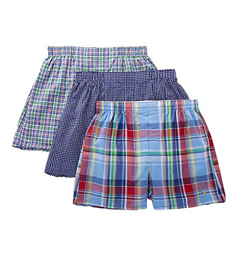 (Polo Ralph Lauren Classic Fit Cotton Woven Boxers - 3 Pack (RCWBS3) XL/Dennis Plaid)