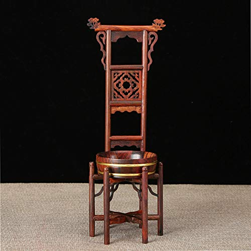 Washstand Wood - ZAMTAC Chinese Traditional Washbasin Miniature Furnitures Classical Red Wood Crafts Ming Qing Dynasty Ornaments Table Decoration Craft - (Color: Light Grey, Size: Chinese Washstand)