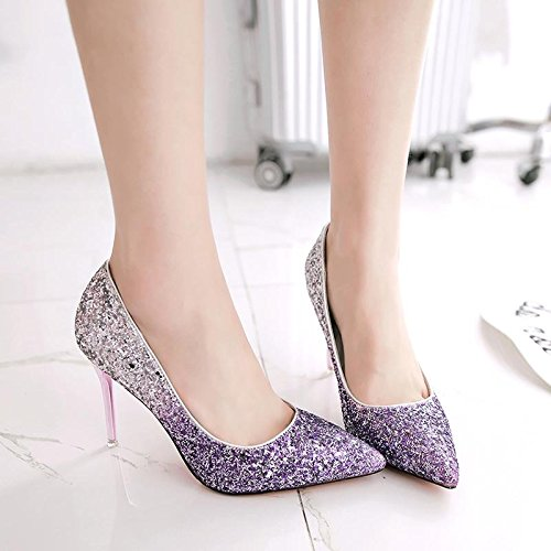 Crystal Sexy Shoes Bridesmaids Pointy Ladies' Fashion Shoes High Heeled Shoes Thirty Shoes Women'S Autumn 9Cm KPHY Four Shoes Violet WwSAqvOq