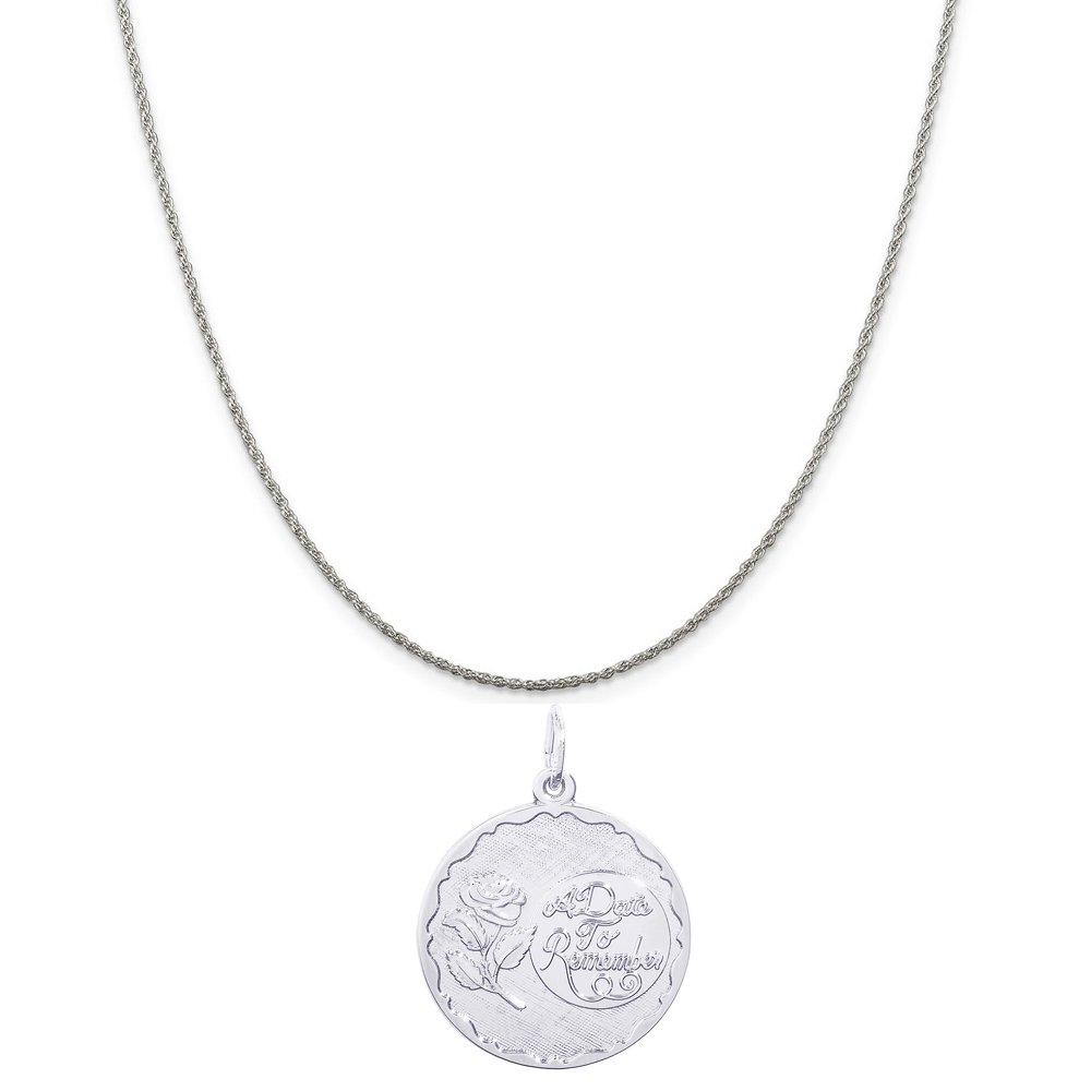 Box or Curb Chain Necklace Rembrandt Charms Sterling Silver A Date to Remember with Rose Charm on a 16 18 or 20 inch Rope