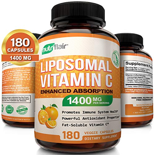 NutriFlair Liposomal Vitamin C 1400mg, 180 Capsules – High Absorption, Fat Soluble VIT C, Antioxidant Supplement, Higher Bioavailability Immune System Support & Collagen Booster, Non-GMO, Vegan Pills