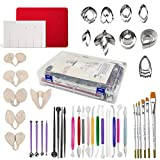 62pcs Gumpaste Flower and Leaf Tool Kit 6set Fondant Flower Silicone Mold 6set Gum Paste Flower Cutter Set 1 Petal Leaves Veining Board 1 Flower Foam Pad 6 Brushes 20 Sugar Paste Flower Modelling Tool