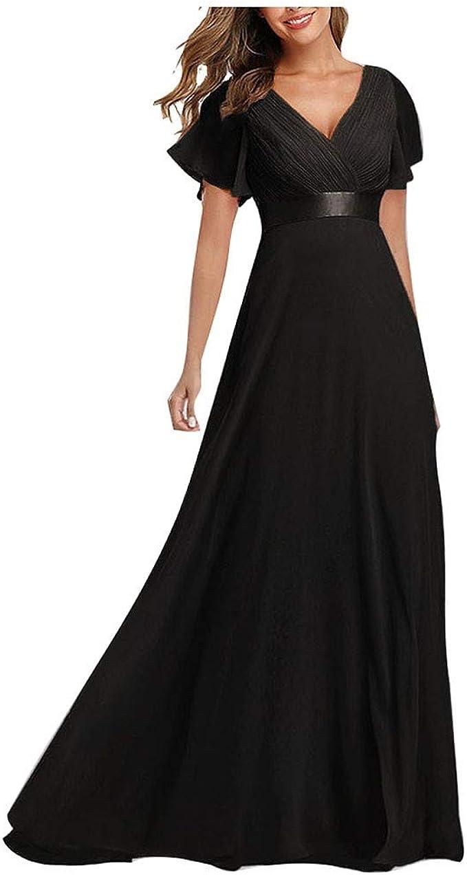 Aoogo Damen A-Linie V Ausschnitt Brautjungfer Abendkleider