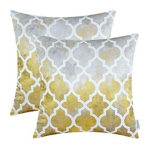 CaliTime Pack of 2 Silky Throw Pillow Covers Cases for Couch Sofa Home Decoration Tie-Dyed Style Modern Quatrefoil Trellis Chain Geometric Gray Yellow