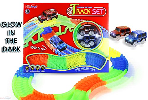 Haktoys Glow in the Dark Track Set - Flexible Playset 156 Pc