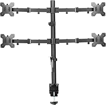 Suptek Quad LED LCD Monitor Stand up Desk Mount Extra Tall 31.5 inch Pole Heavy Duty Fully Adjustable Stand for 4 / Four Screens up to 27 inch (MD6884)