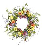 Wholesale Silk Floral 22'' Pansy and Wildflower Wreath Wall décor Mixed