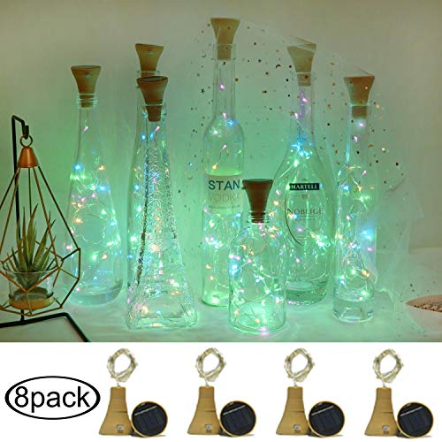 Cynzia 8 Pack Solar Powered Wine Bottle Fairy Lights(Bottle NOT Include), Waterproof 20 LED Lights Cork Shape String Copper Lights for Home Wedding Garden Pathway Decor (4 Colors) from Cynzia