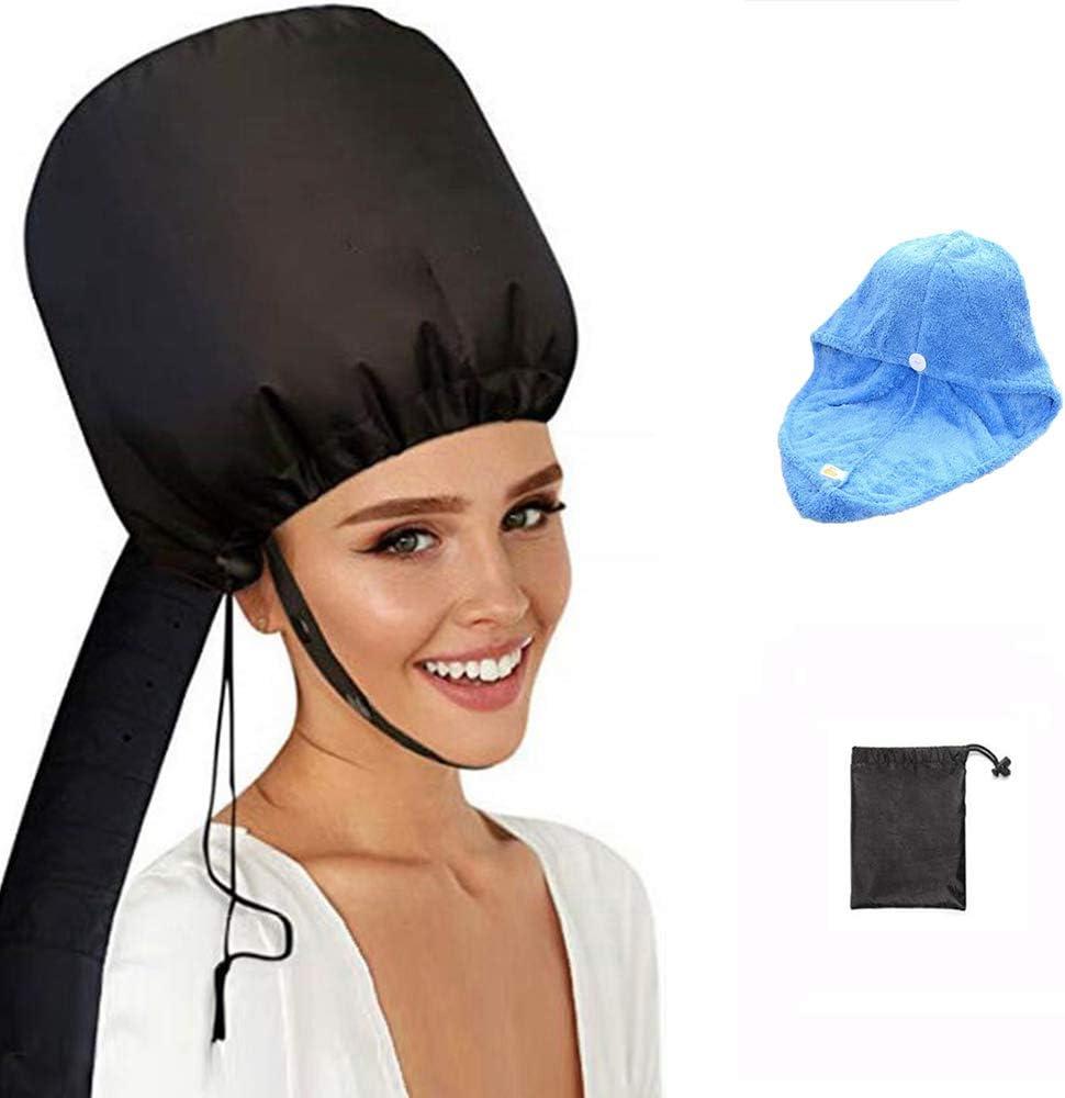 Capucha para secador de pelo, accesorio con toalla azul, capucha suave, portátil, sin tapa de secado de pelo, ajustable para cuidados en condiciones profundas.