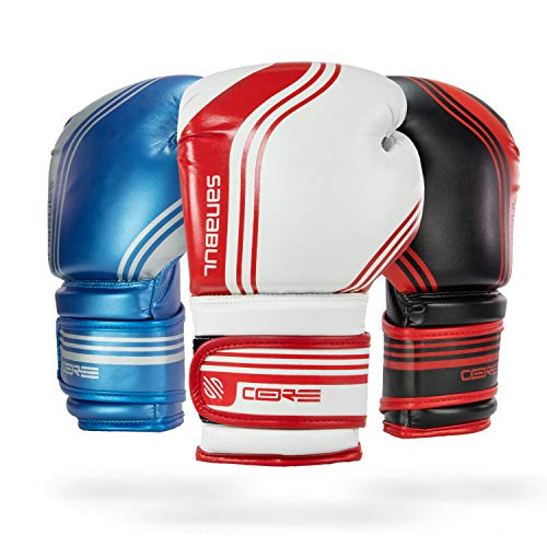 Sanabul Core Boxing Gloves (White/Red, 8 ()
