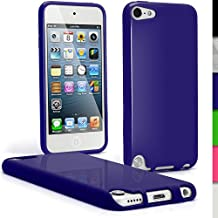 iGadgitz Blue Glossy Durable Crystal Gel Skin (TPU) Case Cover for Apple iPod Touch 6th Generation (July 2015 onwards) & 5th Generation (2012-2015) + Screen Protector