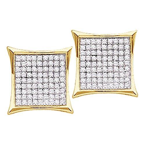Kite 14k Gold (Roy Rose Jewelry 14K Yellow Gold Ladies Diamond Square Kite Cluster Stud Earrings 1/10 Carat tw)