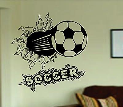 Soccer Ball Bursting Through Wall with Word Vinyl Wall Decal Sticker Art Sports Kid Children Ball Nursery Boy Teen Homerun