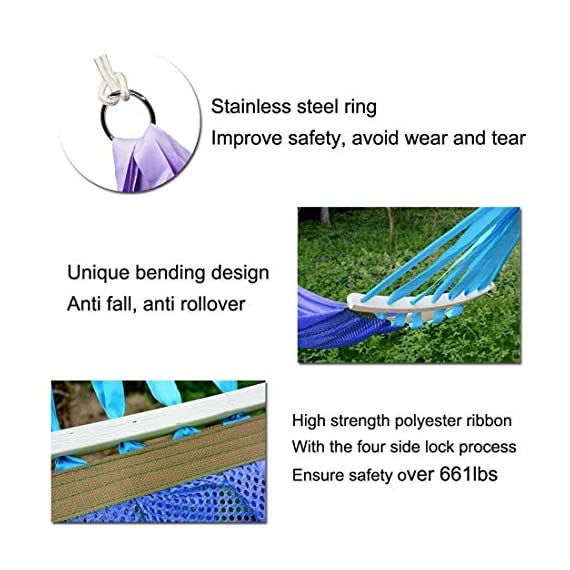 "Hegogo-Mesh Cooled Ultralight Hammock Portable Foldable Leisure Swing Bed with Backpack for Beach Camping Hiking Garden Travel Sports Backyard Porch Outdoor or Indoor - The portable hammocks are made of high quality high-strength Ice Silk Fabric. It is extra soft yet super strong ,breathable and quick dry. When you lie on it,you will feel fresh and cool High-strength Camping Hammock - Safely holds up to 661lbs (300kg). The high strength polyester ribbon is used to ensure the safety of the load. The hammock size is 79""*55"". Hardwood spreader bars ensure you will never be 'cocooned' in the hammock.The wood spreader bar is curved that prevent you from turning over and fall off.The hardwood spreader bars that help prevent the roping from becoming tangled. - patio-furniture, patio, hammocks - 51LJBqparSL. SS570  -"