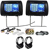 Package: Rockville RVD951-BK Pair of 9 Black Dual DVD/USB/SD Car Headrest Monitors W/ Front Loading DVD Player in Each Headrest + (2) Video Game Controllers + Covers + (2) Wireless Ir Headphones
