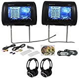 Package: Rockville RVD951-BK Pair of 9'' Black Dual DVD/USB/SD Car Headrest Monitors W/ Front Loading DVD Player in Each Headrest + (2) Video Game Controllers + Covers + (2) Wireless Ir Headphones