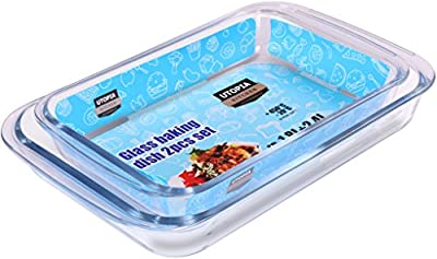 Borosilicate Glass Baking Dish - Set of 2 - 1.8L (11.6 x 7.1 x 2 inches) and 2.4L (13.5 x 8.2 x 2 inches) - Dishwasher Safe - by Utopia Kitchen