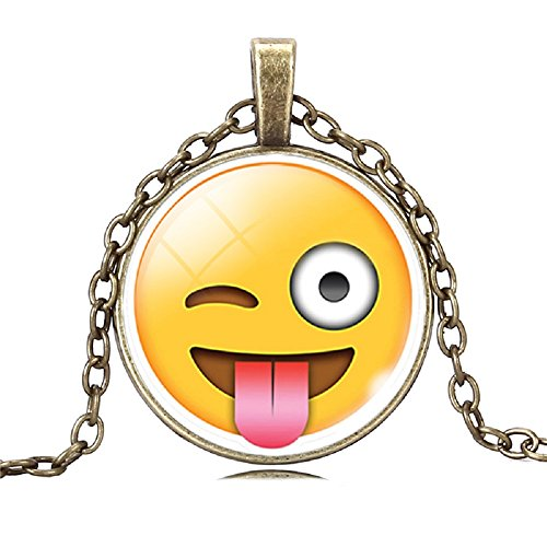 Emoji Face Pendant Necklace (Winking Tounge Out Silly)