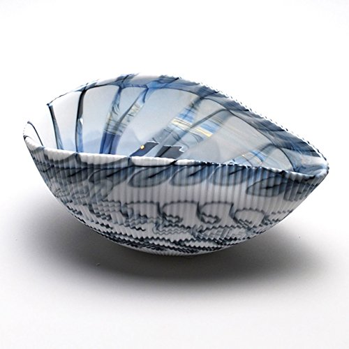 Venetian Glass Bowl - HOME DECOR - MURANO GLASS DECORATIVE SHELL BOWL - WHITE / BLACK - 7