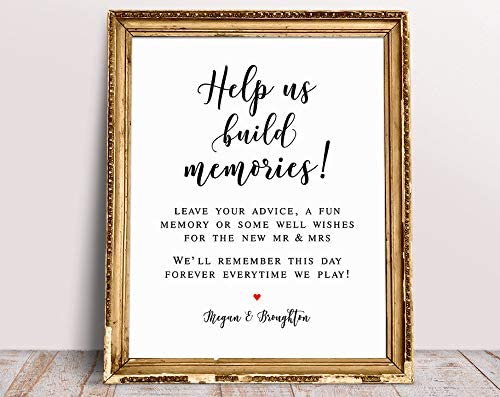 Rummy Help Us - Señal de Recuerdo para Boda Jenga Libro de Invitados Personalizado para Boda Jenga Guestbook Sign Build Memories Sign: Amazon.es: Hogar