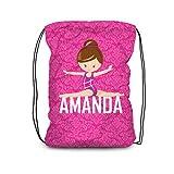 Gym Drawstring Backpack - Pink Damask Gymnastic Bag
