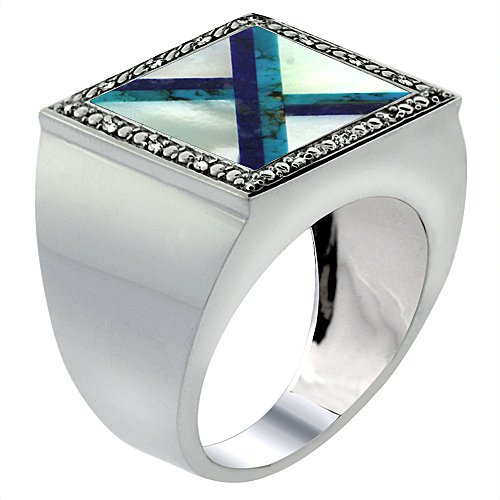10 Diamond Mother Of Pearl - 10k White Gold Diamond Natural Mother of Pearl, Lapis & Turquoise Mosaic Ring 9/16 inch wide,size 14