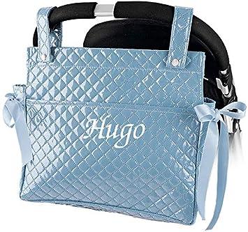 mibebestore - Bolso Talega Lactancia PERSONALIZADA Plastificada para carro Azul - Nombre bebé bordado: Amazon.es: Bebé
