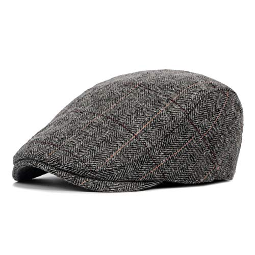 (LANLEO Men's Herringbone Wool Tweed Gatsby Newsboy Hat Flat Lvy Cabbie Driving Golf Cap Gray)