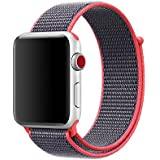 Smart Watch Band Electric Pink Sport Loop, Uitee Newest Woven Nylon Band for Apple Watch Series 42mm 3/2/1 , Comfortably Light With Fabric-Like Feel Wrist Strap Replacement with Classic Buckle