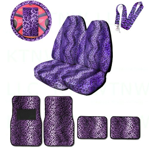 A Set of Animal Print Front and Back Floor Mats, 2 High Back Seat Covers, Wheel Cover, 2 Shoulder Pads, and Lanyard Key Chain - Leopard Purple - Leopard Purple