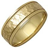14K Yellow Gold Center Stripe Men's Hammered Finish Comfort Fit Wedding Band (8mm)