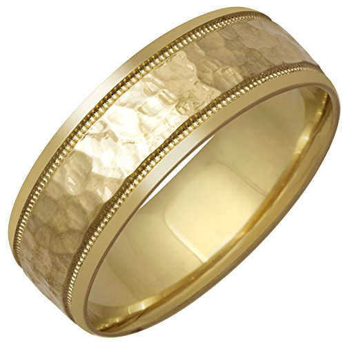 14K Yellow Gold Center Stripe Men's Hammered Finish Comfort Fit Wedding Band (8mm) Size-11.5c1