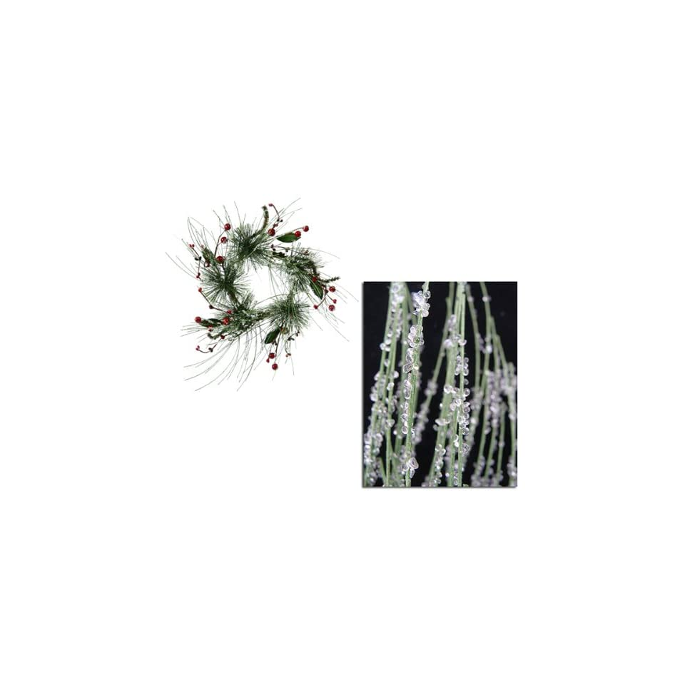 Pack of 4 Iced Berry Pine Artificial Christmas Candle Rings 12