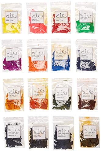 Candle Dye Flakes for Making Candles - 16 Popular Colors, 0.21 oz Per Bag (Total 3.6 oz) - Work Well with Soy, Paraffin Wax, Beeswax - Non-Toxic, Skin Safe, Cruelty-Free - WIKs Candle Making Supplies