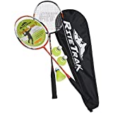 RiteTrak Sports FiberFlash 7 Badminton Racket Set by, 2 Carbon Fiber Shaft Racquets, 3 Shuttlecocks plus Fabric Carrying Bag All Included - Choose Your Favorite Colors