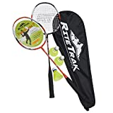 FiberFlash 7 Badminton Racket Set by RiteTrak Sports, 2 Carbon Fiber Shaft Racquets, 3 Shuttlecocks plus Fabric Carrying Bag All Included (Orange/Black)