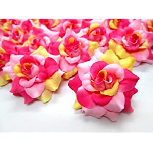 "(24) Silk Cream and Pink Roses Flower Head - 1.75"" - Artificial Flowers Heads Fabric Floral Supplies Wholesale Lot for Wedding Flowers Accessories Make Bridal Hair Clips Headbands Dress 24"