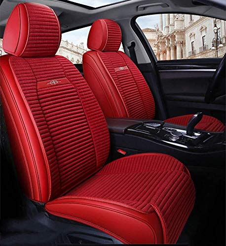 Full Set Universal 5 Seats Car PU Leather Car Seat Cushions Anti-Slip Suede Backing Car Seat Covers for Sedan SUV Seats (Color : Red):