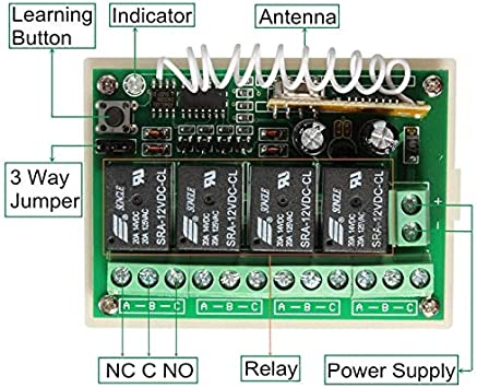 Receptor Universal 433 MHz Radio Receptor con Transmisor Autoaprendizaje 2 Canales para Garaje Puertas Port/ón Autom/ática Persianas Luces Motor Momentary Toggle Latched Mode Relay AC 220V