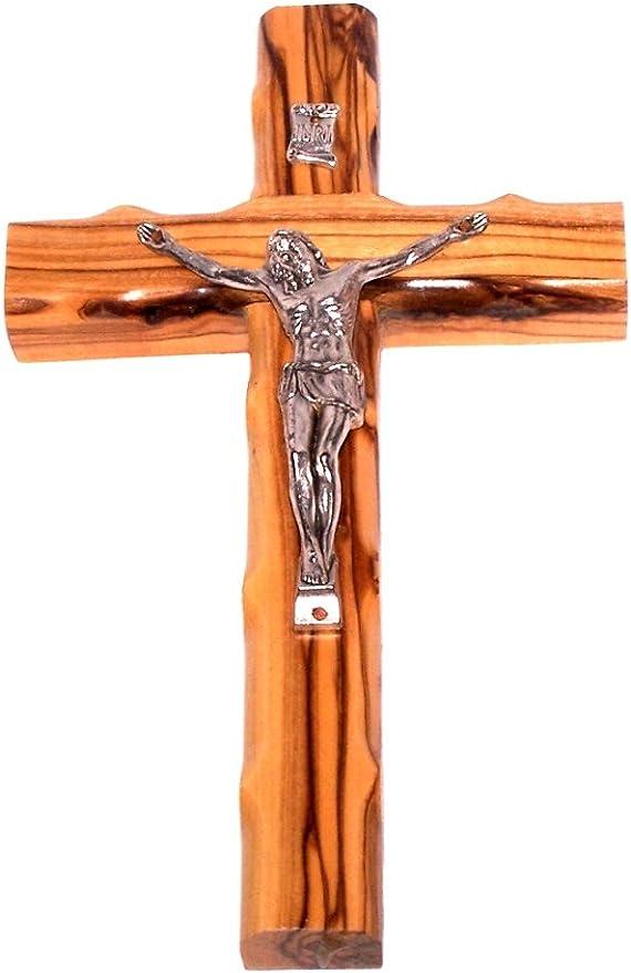 Holylandmarket Olive Wood Cross With Crucifix
