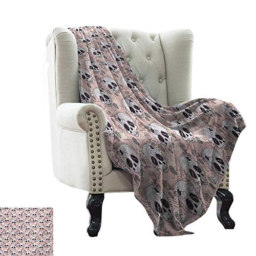 BelleAckerman Cold Blanket Skull,Halloween Traditional Mexican Sugar Day of The Dead Roses Horror Folk Pattern,Blush White Onyx Lightweight Microfiber,All Season for Couch or Bed 60